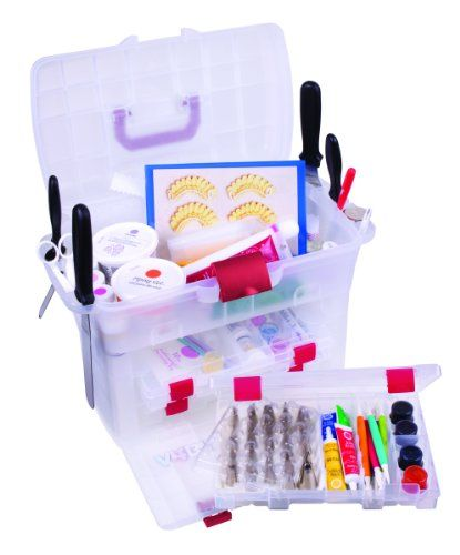 The large top unit that holds jars bottles practice boards tools and more. Side rails conveniently hold spatulas and tools. It includes 3 Solutions boxes and 2 tip trays with protective covers with...
