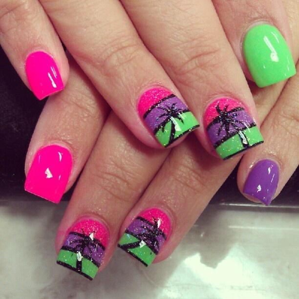 palm tree neon pink green & purple nail art design with glitter