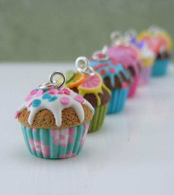 porcelana fria fimo colgante Cupcakes!