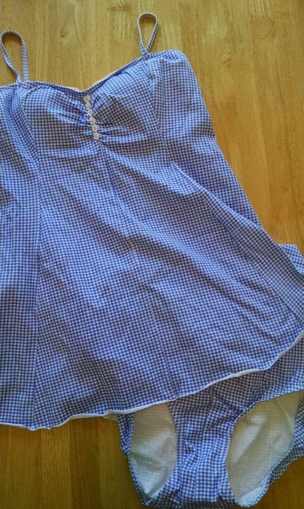 Motherhood maternity swimsuit tankini xl new daisy blue gingham #MotherhoodMaternity #Tankini