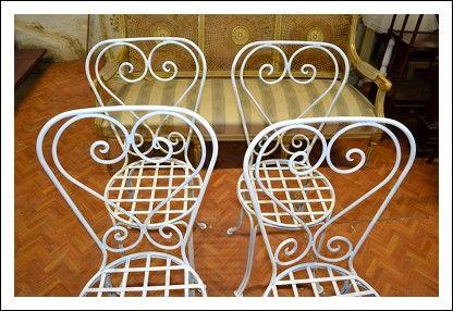 sedie in ferro battuto antiche color panna restaurtae perfette mis 47x47 h 94