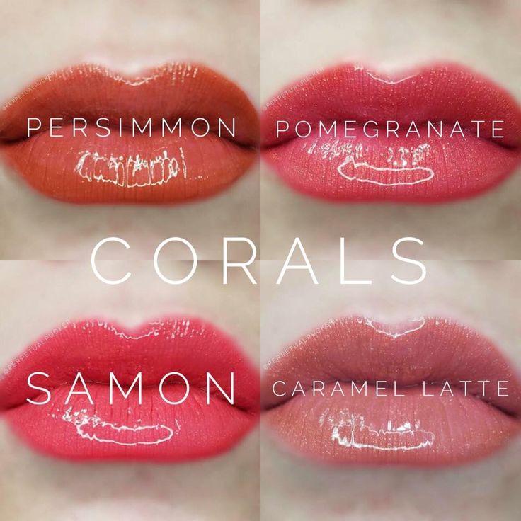 LipSense Coral Colors Samon Caramel Latte Persimmon