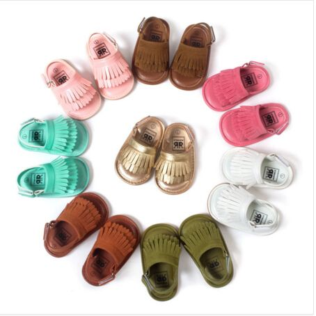 2016 New designs floral Hot sale Double Tassel Pu leather Baby moccasins  child Summer girls sandals Sneakers Infant shoes