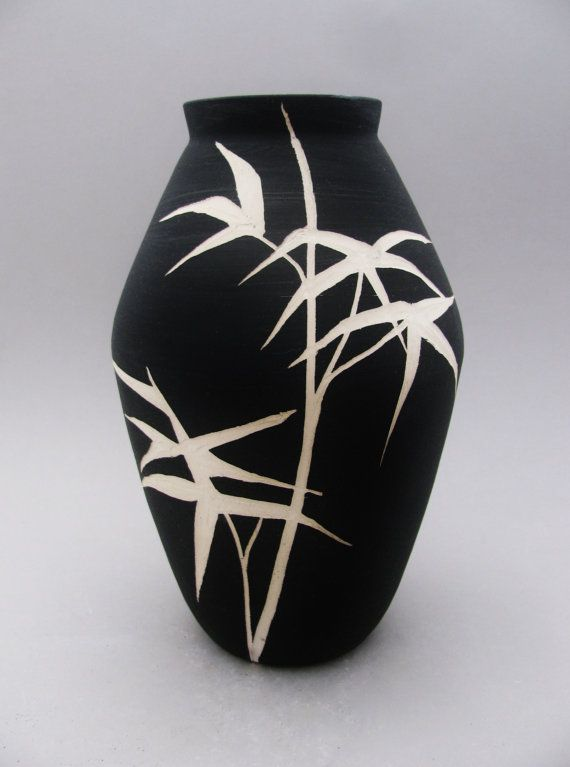 black and white hand painted and carved ceramic vase asian inspired reed design
