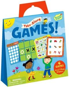 Peaceable Kingdom / Take Along Games Reusable Sticker Tote Four on-the-go games in a handy tote for take-along fun. Games included are: tic-tac-toe, memory match-up, On-the-Go Bingo, and Four-in-a-Row. They have their play-boards and repositionable stickers.  http://awsomegadgetsandtoysforgirlsandboys.com/creative-easter-basket-ideas/ Creative Easter Basket Ideas: Peaceable Kingdom / Take Along Games Reusable Sticker Tote