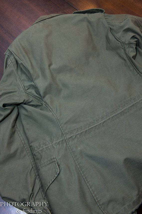 Vintage Military Field Jacket Army Green Olive Drab M65 With Liner door AuldMemories