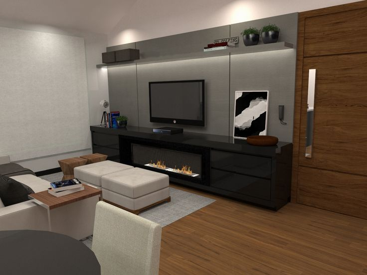 Vista painel TV sala de estar integrada com cozinha e jantar  opo painel cinza  Interiores