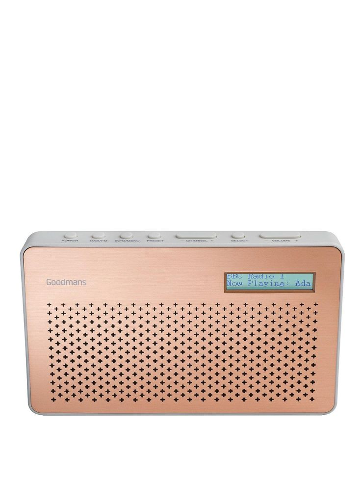 Enjoy your favourite radio stations any time, any place with the compact Goodmans Canvas Portable DAB Radio. Just 11 x 18.5 x 5.7 cm, it sits easily on a shelf or kitchen top – and be slipped into your bag to soundtrack a day out.Simple controls and portability lets you enjoy crisp, clear sound all around the home and a long battery life of 9 hours means you don't always have to be by a plug.DAB radio gives you superior reception quality and access to a wealth of digital only stations such…