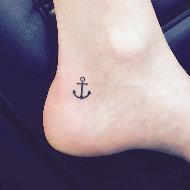Small Anchor Tattoo On Inner Ankle