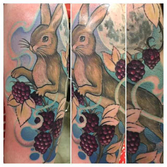 Almost finished this #hare #blackberries and #southernmoon  #tattoo for A lovely lady from Tassie.  #allyriley #dangerzonetattoo #inkjecta #eternalink #tattooartistmag #colourtattoo #brunswickstreettattoo #fitzroy #melbournetattoo #melbourneartist #melbourne #inked #inkedgirls