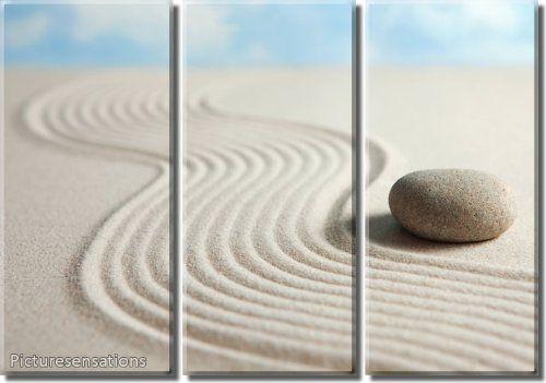 Framed Huge 3 Panel Peaceful Zen Stone Giclee Canvas Print