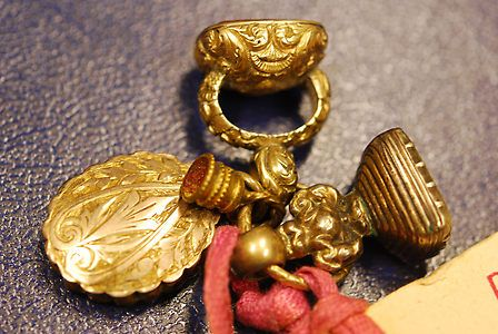 The Hobbs Seals belonging to Robert Hobbs... Two gold legal seals plus a gold locket, all joined together with a gold ring....   Seals were for many centuries, symbols of ancient lineage among not only the people of western Europe, but also those of the United Kingdom.