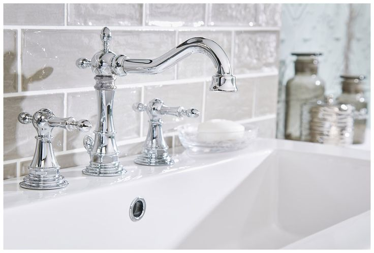 Traditionally-styled regent brassware in polished chrome #Roseberry #brassware #bathroomfurniture #myutopia