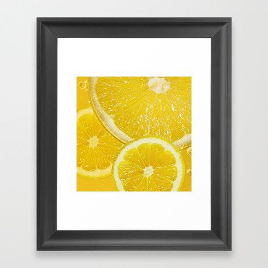 Juicy Lemon Slices Fruit Design - lemon, lemons, slice, slices, juicy, abstract, lemon slices, lemon slice, fruit, food, yellow, framed art print, framed art, art print, art prints, art, wall art