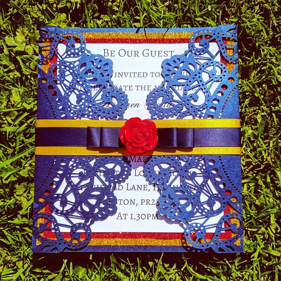 mexican wedding invitations. beauty and the beast laser cut wedding invitations mexican f