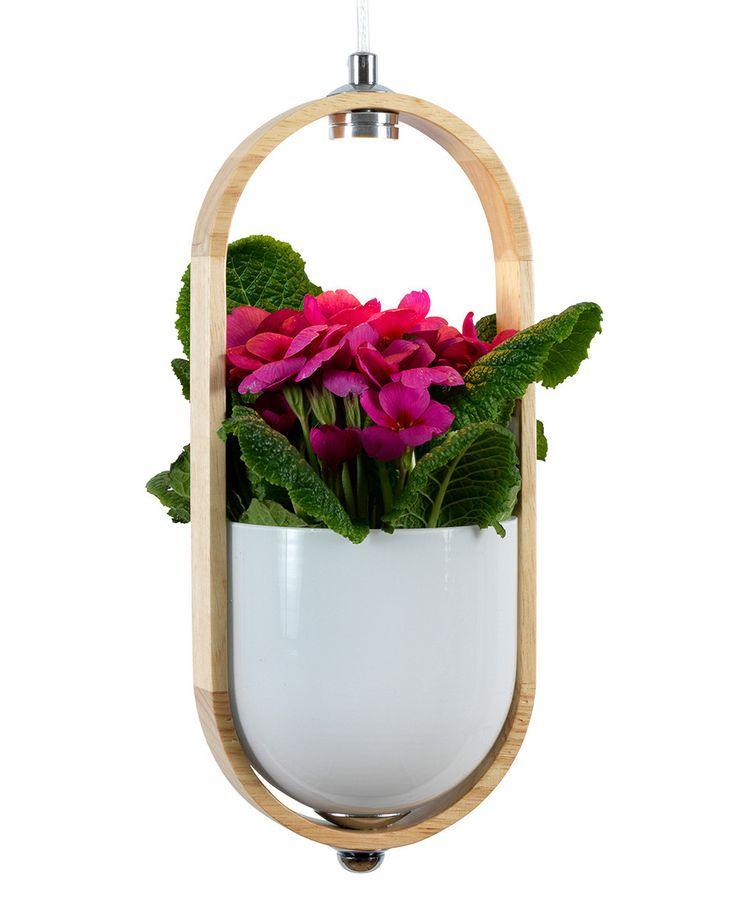 Duo er en meget vakker og fuksjonell LED lampe fra Ea Belysning. Plantelampen har en potteskjuler i hvitt med en ramme i lyst eller mørkt treverk og en transparent kabel. Detaljene er gjort i krom og dine planter vil nyte godt av den lille LED lampen på 5W. En liten drøm både for deg og plantene dine!