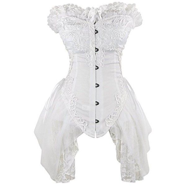 Halloween Victorian Gothic Lingerie Overbust Corset Dress Bustier Lace... ($33) ❤ liked on Polyvore featuring costumes, gothic lolita costume, victorian halloween costumes, white costumes, gothic halloween costumes and victorian costumes