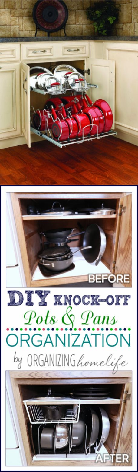 """cookware storage cookware organizer cookware organization DIY Knock-off Pots & Pans Organization DIY Knock-Off Organization for Pots & Pans ~ How to Organize Your Kitchen Frugally Ready- made: Rev-A-Shelf - 5CW2-2122-CR - 21"""" Two-Tier Cookware Organizer vs DIY: """"...grab them easily without having to unstack!... use """" adjustable bakeware organizers"""""""