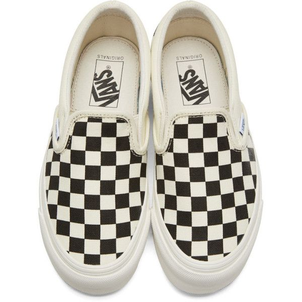 Vans Off-White and Black Checkerboard OG Classic Slip-On Sneakers (£48) ❤ liked on Polyvore featuring shoes, sneakers, vans, low top, black white checkered shoes, vans shoes, black white sneakers and leopard print slip-on shoes