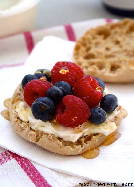 Berries and cream english muffin sandwich - Slice an english muffin in half, spread with a bit of greek yogurt, top with berries such as raspberries or blueberries, and drizzle with honey for additional antioxidants and a boost of sweetness.