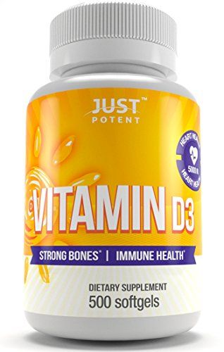 Vitamin+D3+Supplement+by+Just+Potent+::+500+Softgels+::+5000+IU+::+Strong+Bones+&+Immune+Health+::+Full+Benefits+of+the+Sun+in+a+Tiny+Softgel+::+500+Days+of+Uninterrupted+Supply+::+Gluten+Free