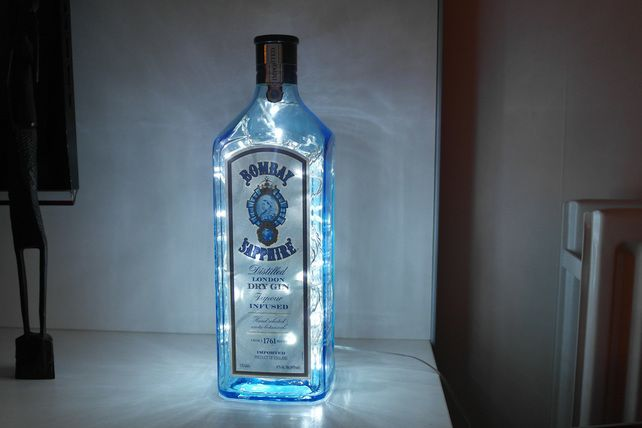 Upcycled Bombay Sapphire Gin Bottle Lamp - Super Rare 1.75L