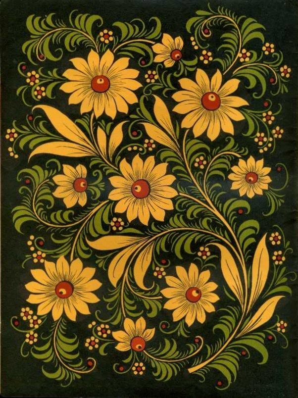 Folk Khokhloma painting from Russia. Floral pattern with green leaves. #art #folk #painting #Russian
