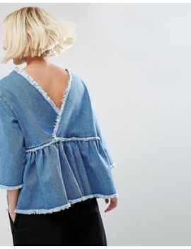asos-denim-smock-top-with-wrap-back-in-vintage-wash by asos-collection