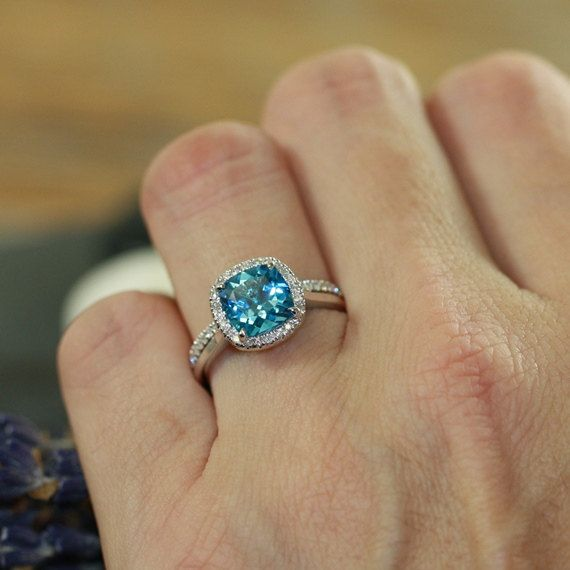 Cushion Swiss Blue Topaz Engagement Ring Wedding by LaMoreDesign love this one too!!!!