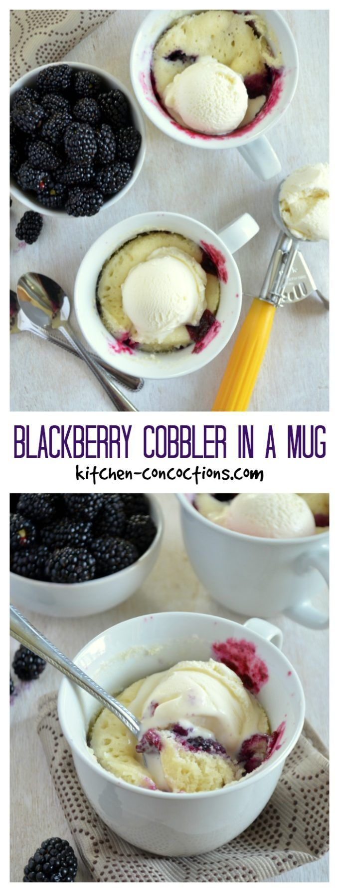 Blackberry Cobbler in a Mug {Plus a Microwave Cleaning Hack} - Got a late night craving for a sweet treat? Whip up this easy Blackberry Cobbler in a Mug in less than 5 minutes! Plus check out a speedy microwave cleaning hack to make clean up a breeze! #AD #ScrubbingPower #CollectiveBias @scotchbriteUS