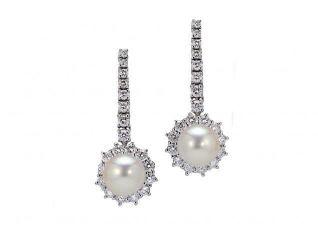 """Orecchini """"Daisy"""" con perla e diamanti"""