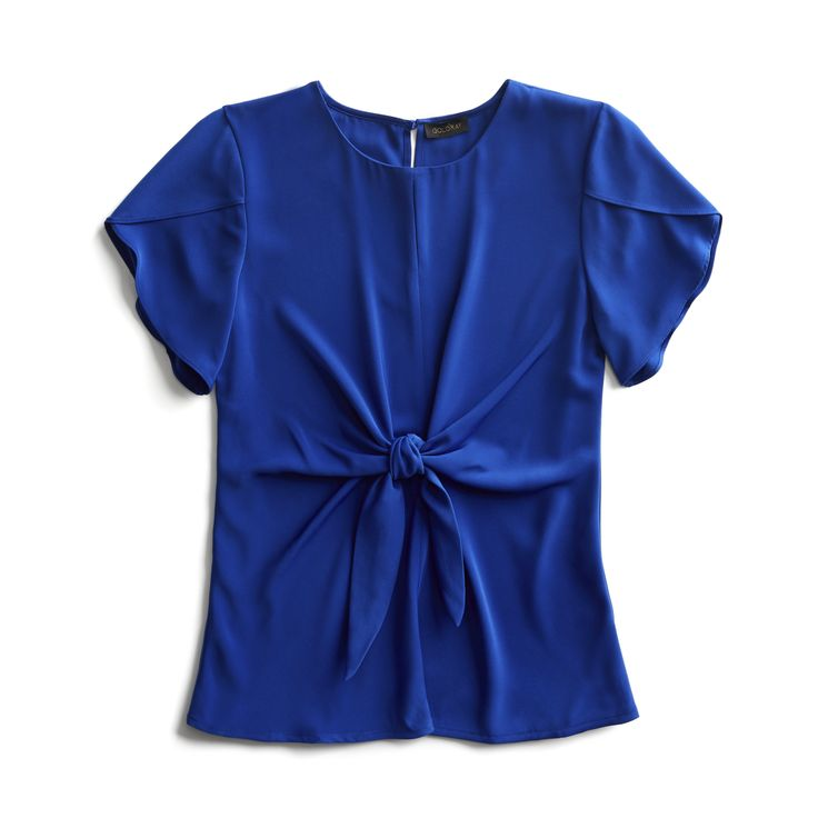 I enjoy seeing a deep blue color blouse. I would wear it with white pants or even a skirt.