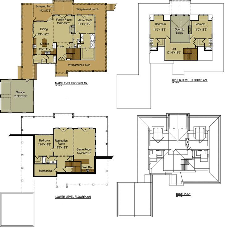 Open floor plan with wrap around porch mountain house Floor plans with walkout basement