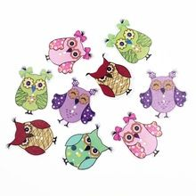 50Pieces Owl DIY Wooden Buttons For Clothing Scrapbooking Accessories Decorative Button Craft Sewing Supplies Botao 26*35mm(China (Mainland))