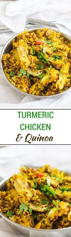 Turmeric Chicken & Quinoa -Looking for a healthy and delicious one dish meal? This Turmeric Chicken & Quinoa is the perfect solution. Turmeric contains a powerful anti-inflammatory called curcumin. Studies have shown it to help with everything from arthritis, to migraines and depression. I love how it brightens up this one dish meal. (Gluten Free & Dairy Free) via @Wendy Polisi | Gluten Free Recipes + Healthy Natural Living