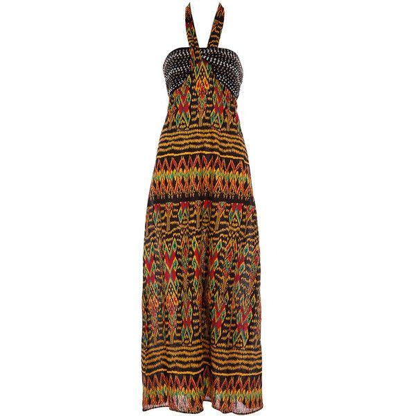 Tribal print stud maxi dress (49 BRL) ❤ liked on Polyvore featuring dresses, vestidos, maxi dress, women, halter top maxi dress, halter-neck dresses, halter tops and cotton maxi dress