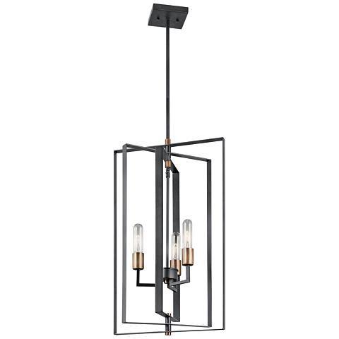 """Kichler Taubert 15"""" Wide Matte Black 3-Light Foyer Pendant"""