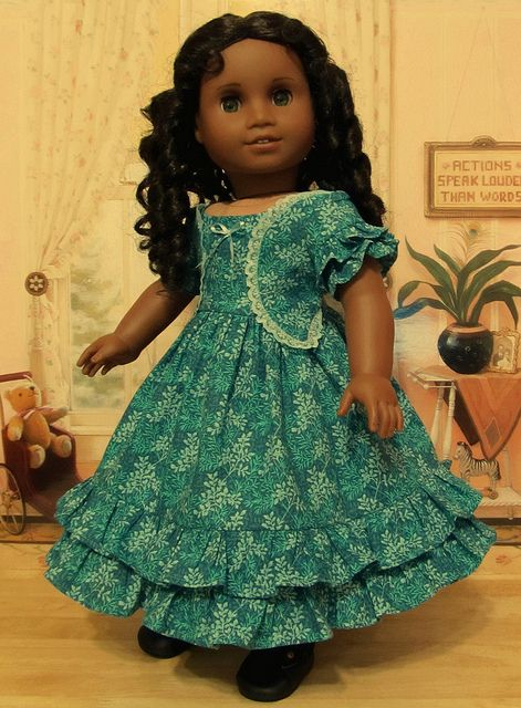 1850's Ruffled Gown in Teal, Turquoise and Pale Blue by Keepersdollyduds, via Flickr