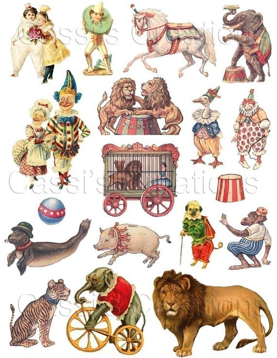 Digital Collage Sheet Circus Animals Clowns by Cassiscreations