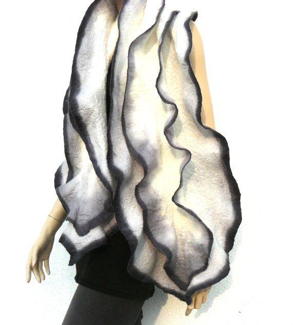 Войлок шарф шерсть мериноса шарф  черный белый серый от MajorLaura
