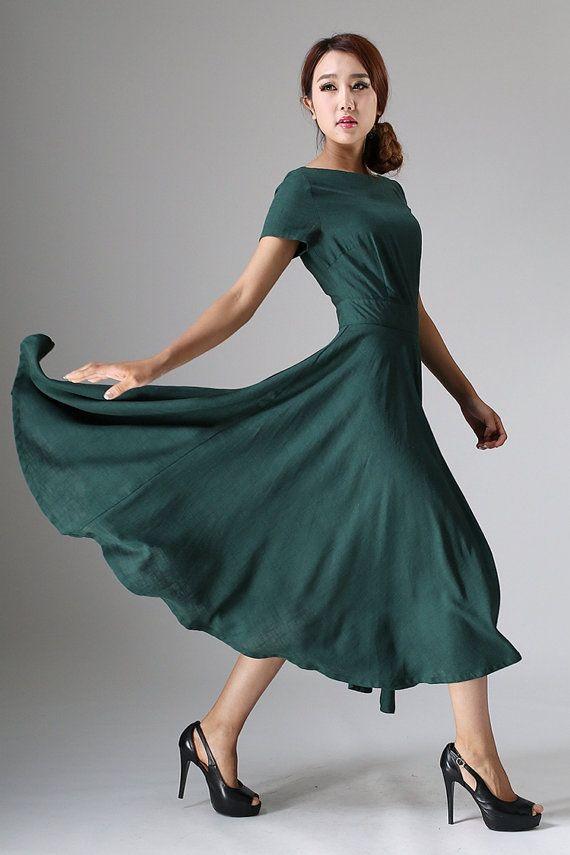 womens Maxi Linen Dress Green Long Floaty Elegant by xiaolizi