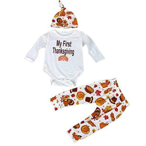 Baby My First Thanksgiving Bodysuit and Pants Outfit with Hat -- Details can be found by clicking on the image.Note:It is affiliate link to Amazon.