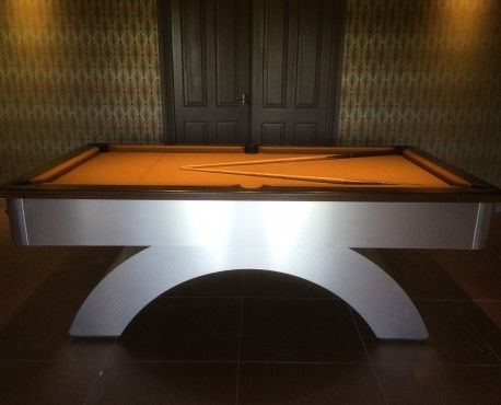 7ft Arched Contemporary UK Pool Table In Brushed Aluminium / Dark Oak  Cushion Rail With Satin