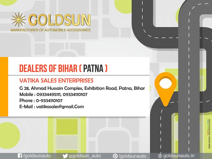Our Dealers in Patna. We, #Goldsun provide #Automobile #Accessories, #Bumper, #nudge_guards, #luggage_carriers, #side_steps for most indian cars.  For more details call : +91 80123 62111, +91 80123 32111.  Visit your nearest #Automobile #Accessory store or www.goldsun.in   #goldsun #dealers #Bihar #patna