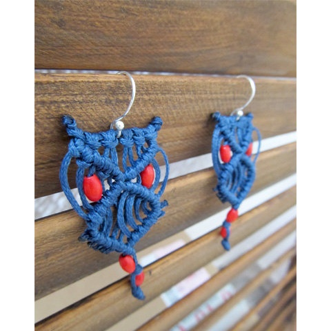 Owl Earrings with wax thread and wood by toofashion on Etsy, $18.00