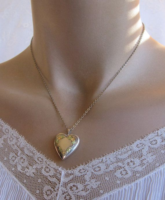 Vintage Sterling Silver Tri Color Heart Locket by gradyladies