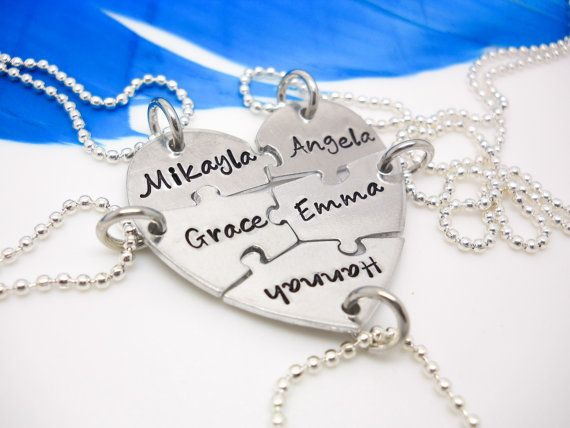 Personalized Necklace, 5 piece puzzle set, 5 Best Friends puzzle necklace set, Hand Stamped Names Necklace Valentines gift for friends