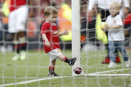 Kai Rooney showcasing his skills to the Old Trafford faithful