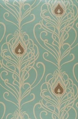 vintage wallpaper patternzz: Feather Wallpaper, Peacock Feathers, Vintage Wallpapers, Art Nouveau, Patterns, Inspiration, Color, Peacock Wallpaper, Accent Wall