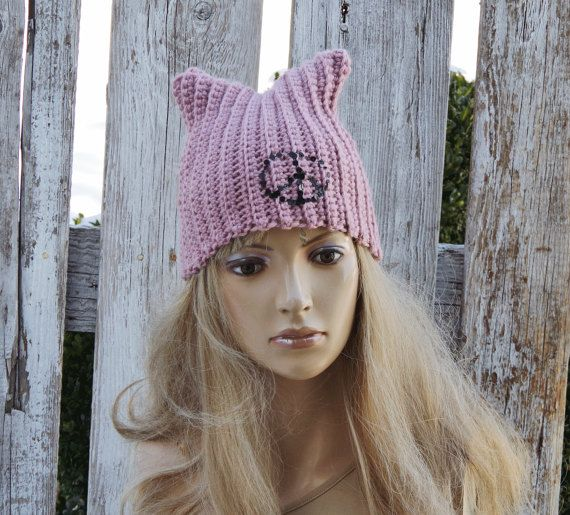Pussyhats Beanie Hat PINK Peace sign crochet Beanie Cat by Degra2